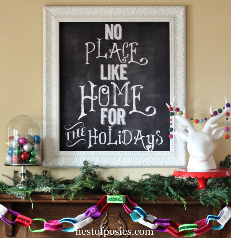 Simple Christmas mantel, Easy Christmas Mantels