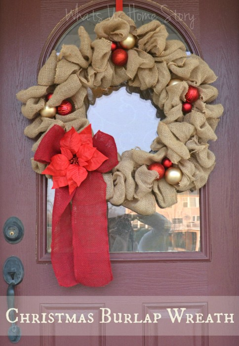 Christmas burlap wreath whats ur home story Burlap xmas wreath