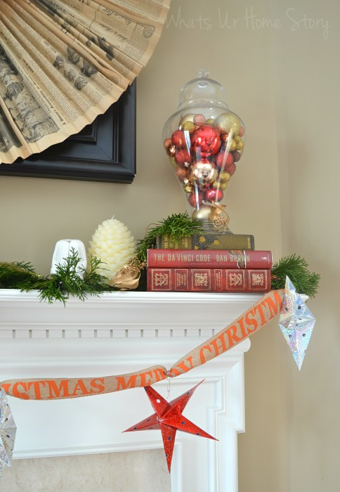 Whats Ur Home Story: Rustic Christmas Mantel, white Christmas mantel, Simple Christmas Mantel, ornaments in apothecary jars
