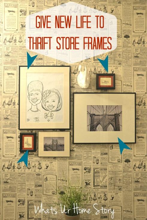 transform thrift store frames, give new life to thrift store frames, black and white art, bridge art
