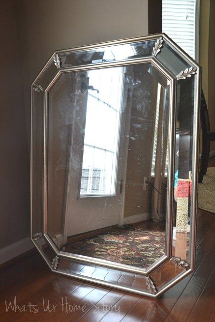 powder room mirror makeover, mirror makeover, octagon mirror makeover