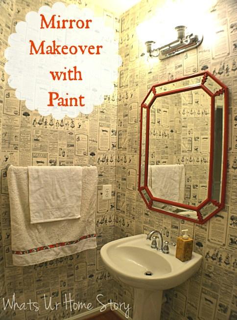 mirror makeover, diy mirror paint, Octagon mirror, powder room mirror makeover, mirror makeover, octagon mirror makeover