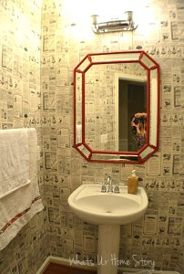 Octagon mirror, powder room mirror makeover