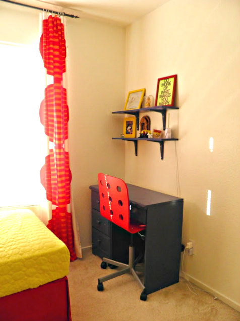 Colorful Kids Room, yellow stripes wall, horizontal stripes wall, yellow and red accents