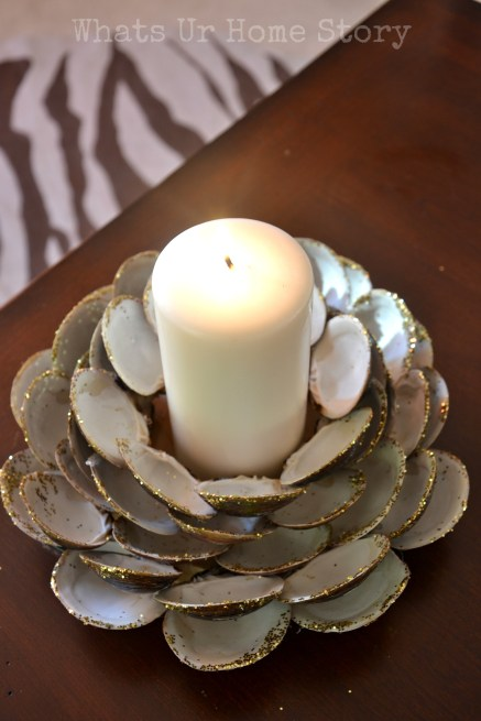 recycle craft, Clam shell candle holder, how to make a seashell candle holder, seashell candle holder tutorial, seashell crafts, beach decor