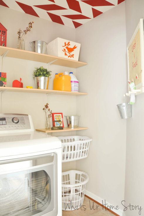 Laundry room with red accents, Laundry Room Makeover, benjamin moore revere pewter