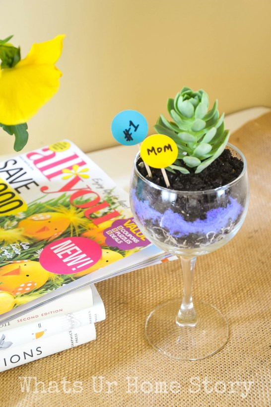 wine glass succulent planter, mother's day gift, teacher appreciation gift, wine glass planter