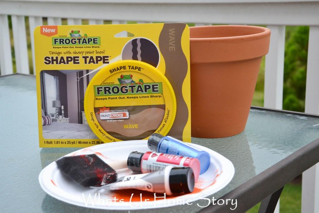 frog tape shape tape project, Patriotic Planter
