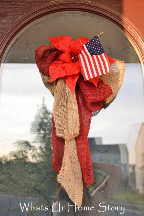 Patriotic Burlap Bow Front Door decor