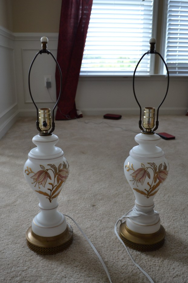 Vintage milk glass lamps
