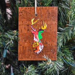 Make Woodland Reindeer Ornaments from floor plank samples from the hardware store and candy wrappers-Whats Ur Home Story