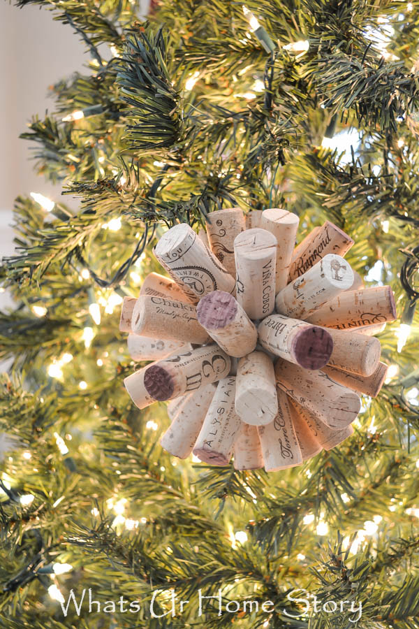 Save up your corks to make this easy cork ball ornament