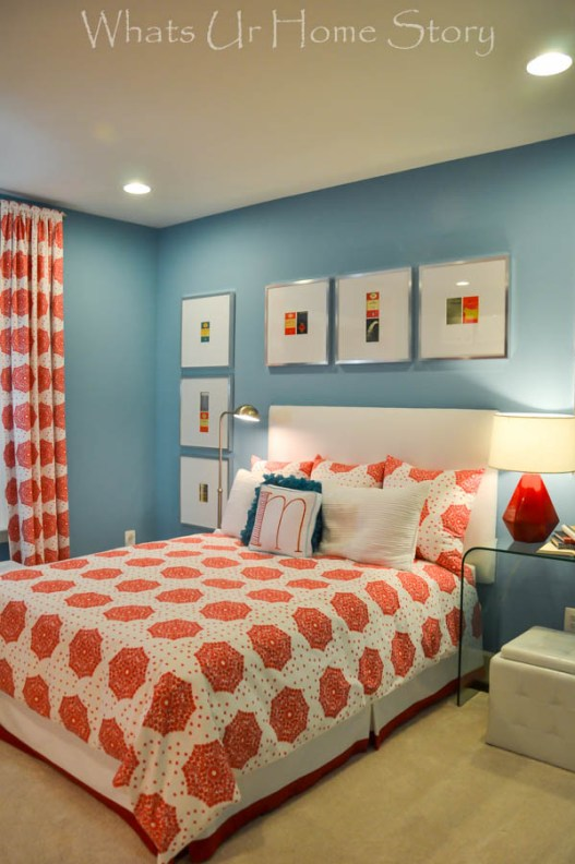 blue and red girls room