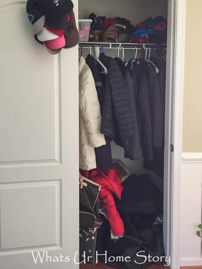 Messy coat closet-before