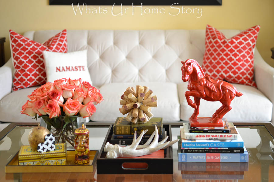 coffee table decorating with red accents