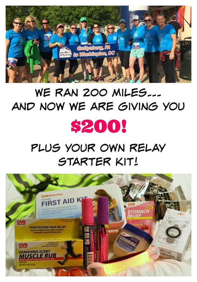 $200 Cash giveaway plus a relay starter kit