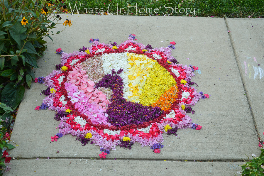 peacock pookalam or Flower rangoli for Onam festival