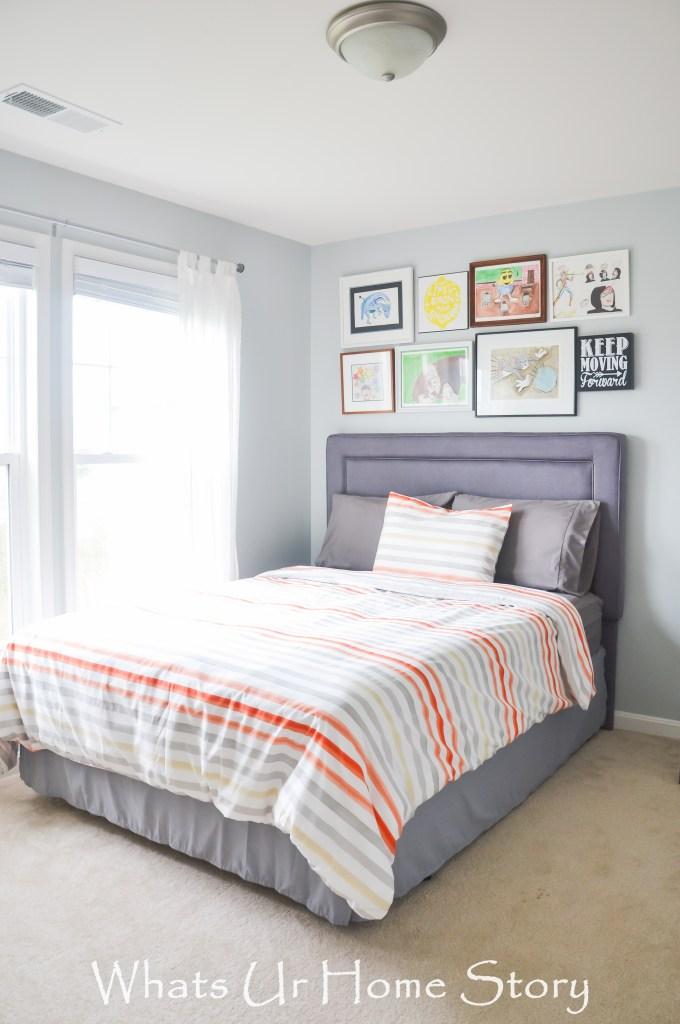 Teen boy bedroom decor in blue, gray, and orange; Bedroom design for tween boys