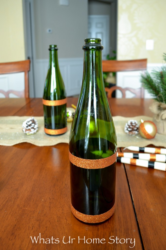 diy wine bottle candle holders with washi tape