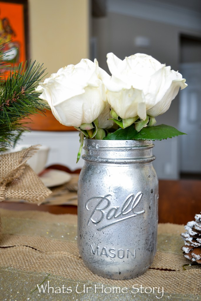 Mercury glass mason jar vase