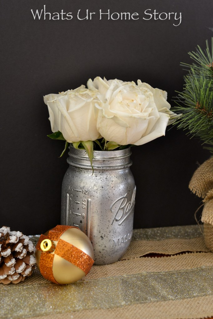 Turn a regular mason jar or a vase into a festive one with this easy DIY Mercury glass technique