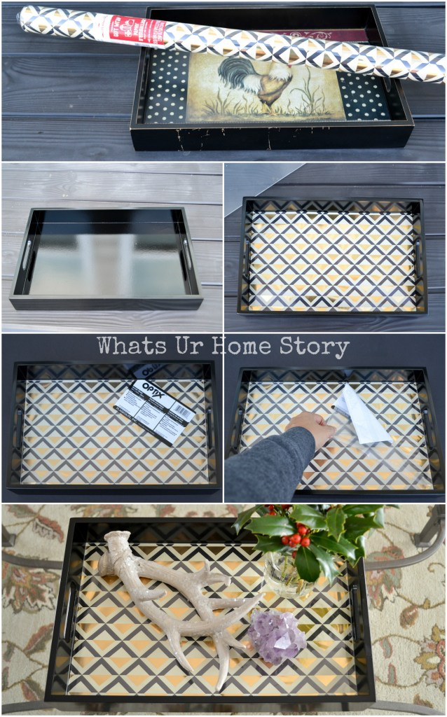 DIY Serving Tray Makeover with Wrapping Paper