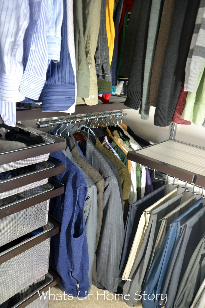His closet makeover using elfa closet system from the container store