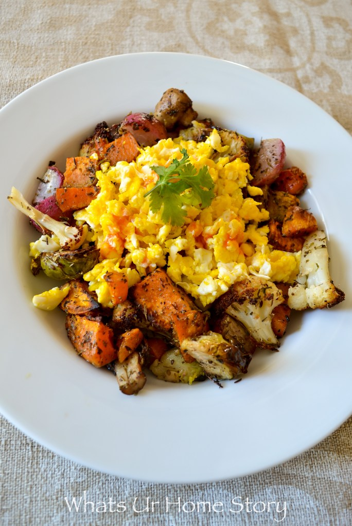 whole30 approved roasted vegetables and egg breakfast hash