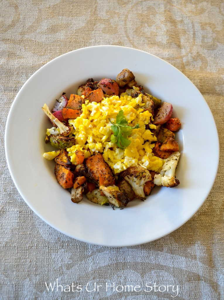 whole30 breakfast recipe - roasted vegetables and egg hash