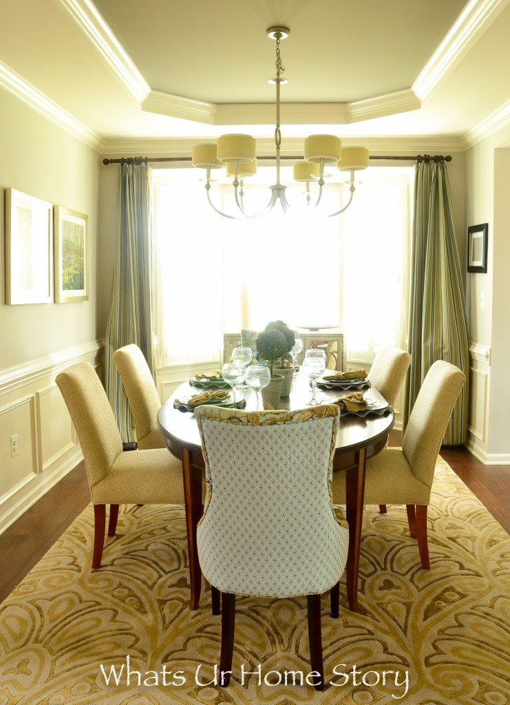 Neutral Dining Room with light blue accents