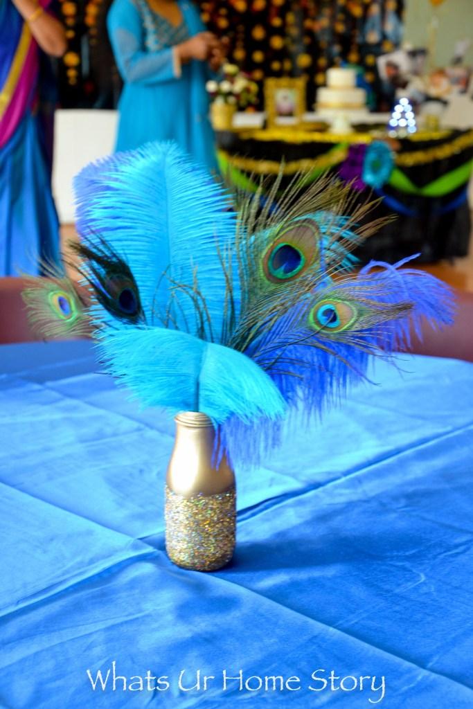 Peacock party decorations -peacock centerpiece -peacock feather centerpiece