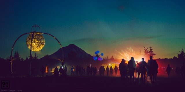 What The Festival at Dusk, Pacific Northwest Beauty, Disco Ball, Mt Hood
