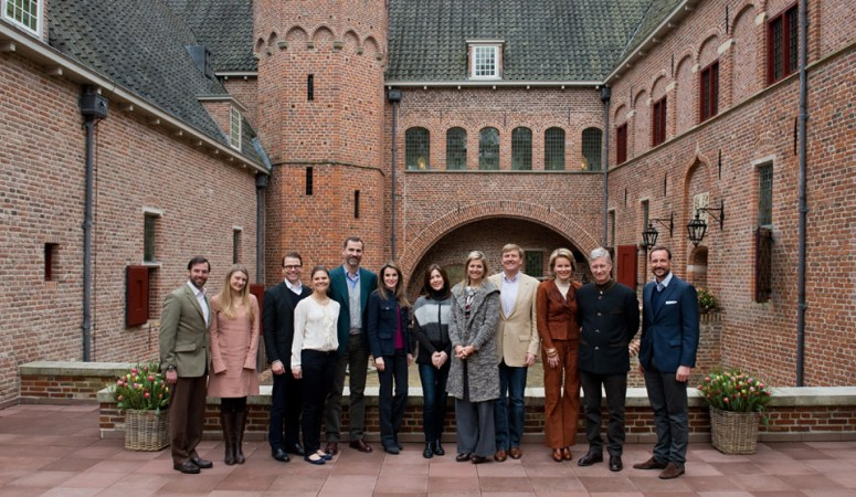 From left to right: Prince Guillaume of Luxembourg, Princess Stephanie of Luxembourg, Prince Daniel of Sweden, Princess Victoria of Sweden, Prince Felipe of Spain, Princess Letizia of Spain, Princess Mary of Denmark, Princess Maxima of The Netherlands, Prince Willem-Alexander of The Netherlands, Princess Matilde of Belgium, Prince Philippe of Belgium, Prince Haakon of Norway