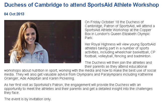 Kate Cambridge Sports Aid