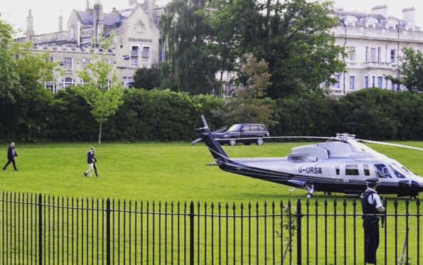 Kate and William boarding helicopter at Kensington Palace