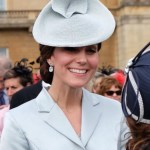 Kate in Baby Blue Satin for Royal Garden Party