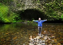 Paul Poses at the bottom of Punchbowl Falls
