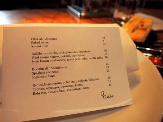 a tavola menu