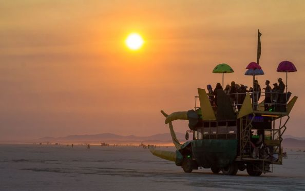 The Boogaloo art car in all it's glory during sunrise out in Deep Playa