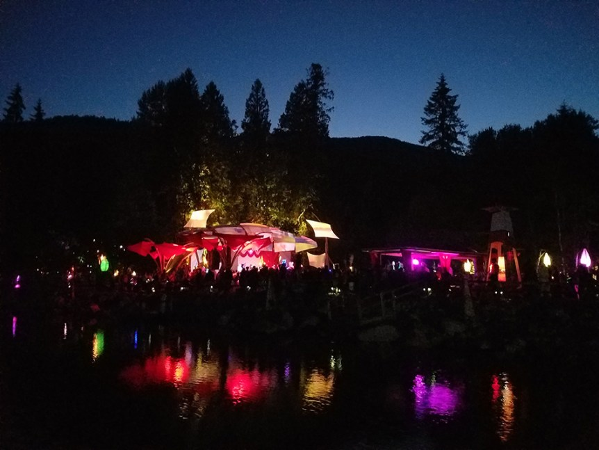 Night falls at the living room stage at Shambhala 2016