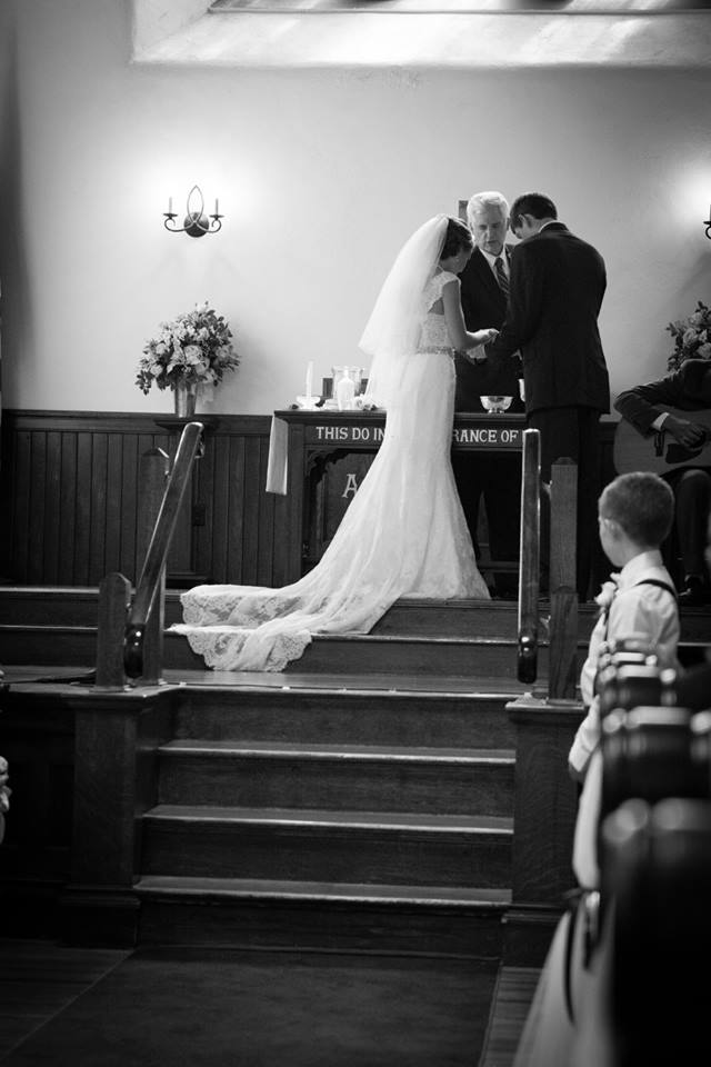 Church Wedding, at the altar