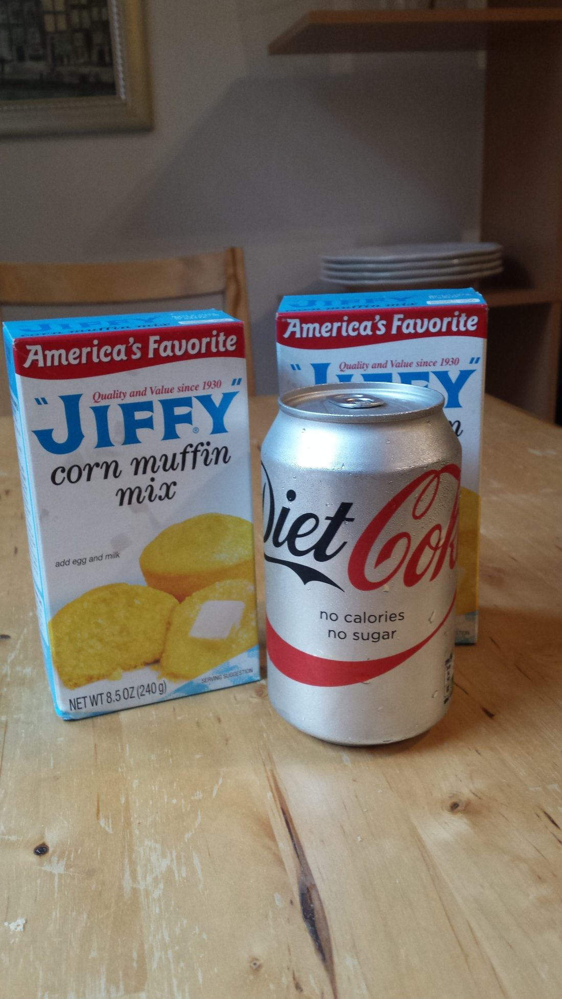 Jiffy corn bread mix and Diet Coke on a table