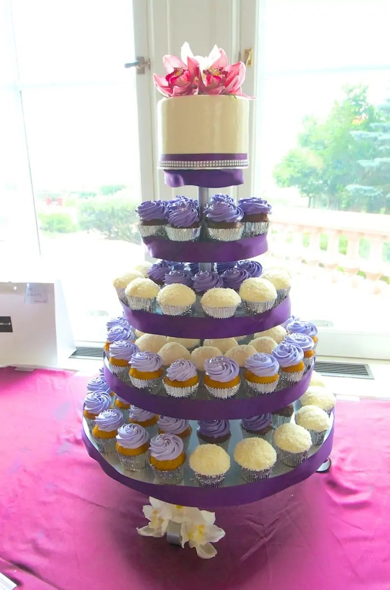 purple and silver wedding Purple and silver wedding cupcake tower with fresh flower topper