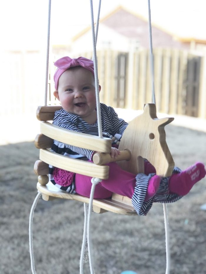 {Jillian back in January enjoying her new swing! She was right at six months old.}