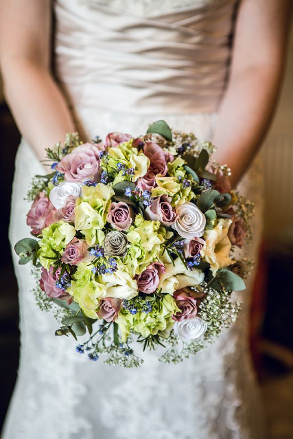 rosemary, rose, hydrangea & forget me know bouquet