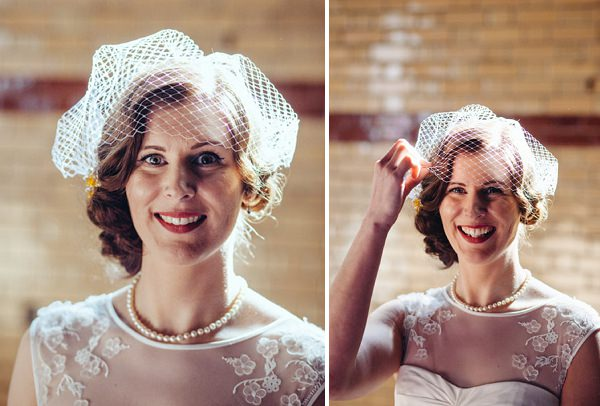 homemade birdcage veil bride