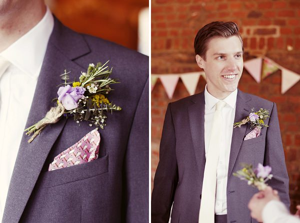 quirky groom suit stylish buttonhole