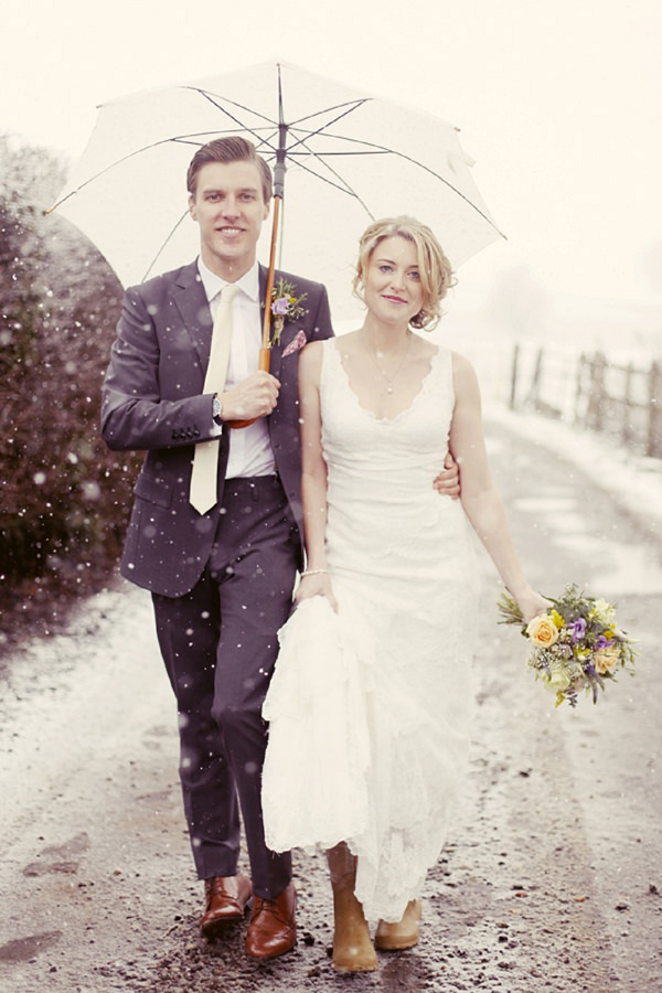 snowy spring pretty wedding