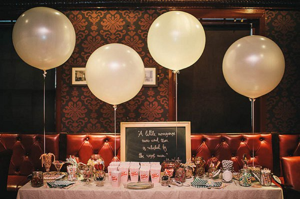 sweet table balloons wedding