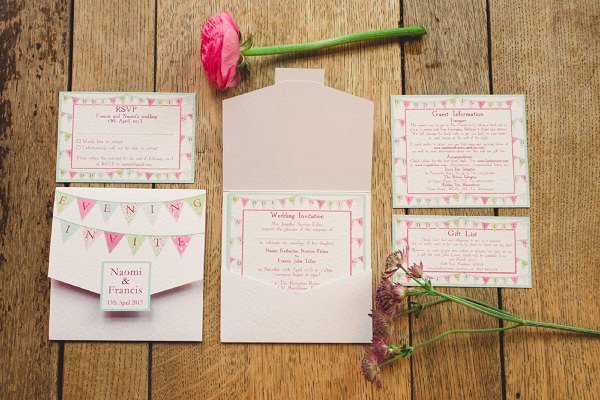 bunting wedding stationery